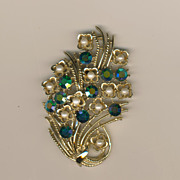 SALE Coro Faux Pearl & Blue Crystal Fan of Flowers Brooch