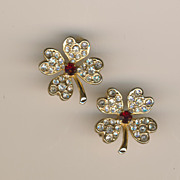 SALE Coro Sparkling 4 Leaf Clover Brooches