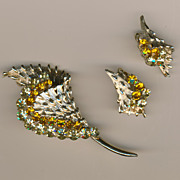 SALE Stunning Coro Pegasus Flower Brooch/Pin & Earrings Set