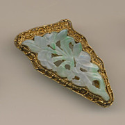 SALE Gorgeous Carved Jade Brooch Pin in Filigree Gold Plated Silver Setting