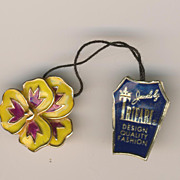 SALE Sweet Trifari Enamel Yellow Pansy Pin Brooch with Tag
