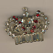 SALE Vintage STERLING Jay Flex Crown Pin - Faux Rubies & Clear Rhinestones