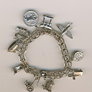 SALE Stunning Forstner Sterling Silver Charm Bracelet - 11 charms - mechanicals and 3Ds includ