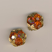 Unusual ORANGE colored Sherman Clip-on Earrings