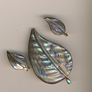 Vintage Mexico Sterling Abalone Leaf Brooch/Pin Earrings