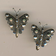 SALE Lovely Sterling & Turquoise Signed Butterfly Earrings