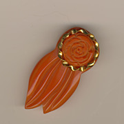 SALE Vintage BAKELITE Carved Rose Clip with Brass