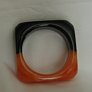 SALE Beautiful Bakelite Two-Tone Butterscotch & Black Chunky Bangle Bracelet - Square Shaped!