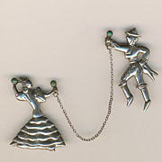 SALE Early Signed Mexico .925 Sterling Flamenco Dancers brooch - Chain intact!