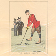 SOLD Set of 4 Matching Edmund G. Fuller Hand Coloured Golf Prints