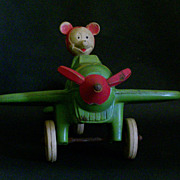 Vintage Rubber Mickey Mouse Air Mail Plane Viceroy Sunruco Canada - Rare Green Color