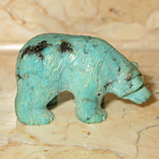 SOLD Native American Turquoise Hand Carved Bear Fetish Figurine