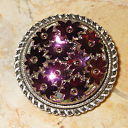 Round Silver-Tone Scarf Clip with Purple Flower Clusters by Western Germany
