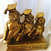 Pair of Gilded Spelter Owl Bookends by JB.