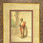 SOLD Arturo Buzzi, Antique Orientalist Watercolor c.1880