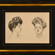 SALE Vintage Gibson Girls Book Plate Prints c.1902-1909
