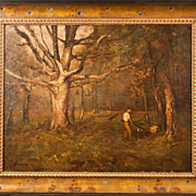 Cutting Trees Antique Oil Painting
