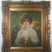 Antique Oil Painting A Beauty with Flowers