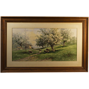 "Antique Watercolor "" Under The Cherry Tree"""