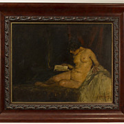 Antique Oil painting of a Nude Reading