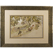Pan and His Nymphs C.1910 Antique Watercolor