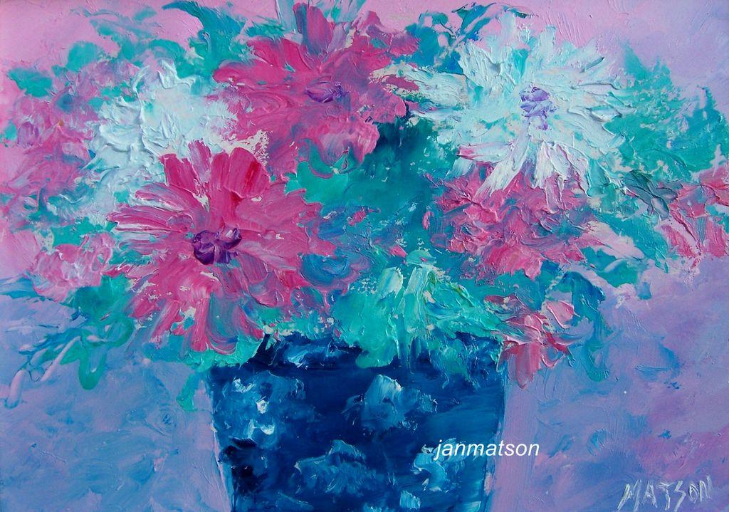 Flowers in Blue Vase Framed - Original Oil Painting Matson