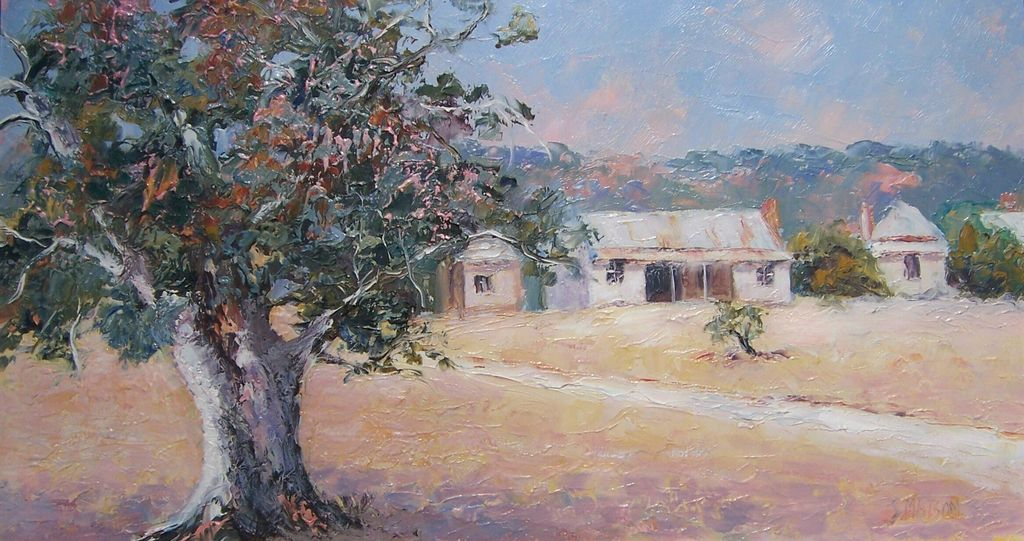 Country Cottages - Original Framed Landscape Gum Tree Painting by Jan Matson