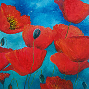 Red Poppies - Original Flower Oil Painting by Jan Matson