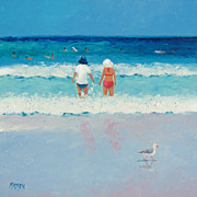 Beach Painting 'Cooling Off' - Original oil Beach Scene by Jan Matson