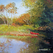 The Red Canoe, original oil landscape painting by Jan Matson