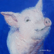SALE Peregrine the Pig - Oil Painting by Jan Matson