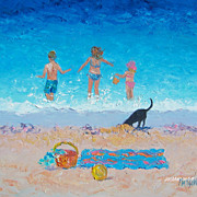 Beach Painting  'Fun in the Sun'  Original Oil Painting by Jan Matson