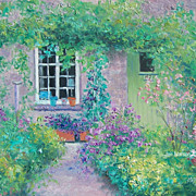 SOLD Cottage garden oil painting by Jan Matson