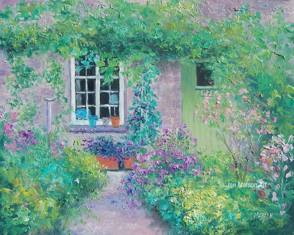 Cottage garden oil painting by Jan Matson