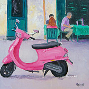 Pink Vespa, Paris Street Scene by Jan Matson