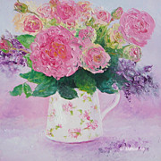 Roses oil Painting 'Roses in a Jug' flower painting by Jan Matson