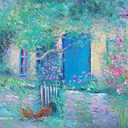 SOLD Cottage Garden 'The Blue Door', oil painting by Jan Matson