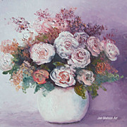 'Roses in a white vase', flower oil painting by Jan Matson