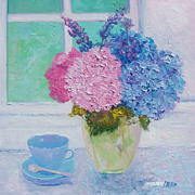 SALE Hydrangeas flower oil painting by Jan Matson.