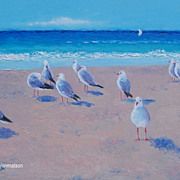 Beach Paintings 'The Seagulls' Original oil Beach Scene by Jan Matson