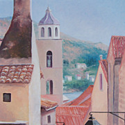 Dubrovnik Roof Tops, Croatia, Dalmatian Coast - Framed Oil Painting by Jan Matson