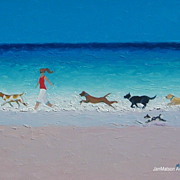 Beach Paintings with dogs 'The Chase' by Jan Matson