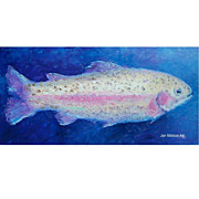 Rainbow Trout Painting, original oil fish painting by Jan Matson.