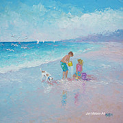 Beach Painting 'Playing by the Shore' by Jan Matson