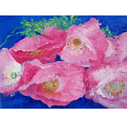 Pink Poppies framed flower painting by Jan Matson