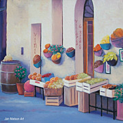 Fruit Market Tuscany, canvas oil painting by Jan Matson
