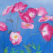 Pink Poppies large canvas flower painting by Jan Matson