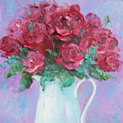 SALE Red Roses in a White Jug, flower oil painting by Jan Matson
