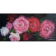 SALE Red Roses flower oil painting by Jan Matson
