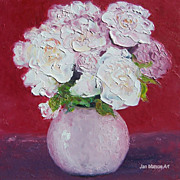 White roses oil painting by Jan Matson